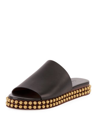 Sawyer 30Mm Flatform Sandal With Gold Studs On Bottom in Black