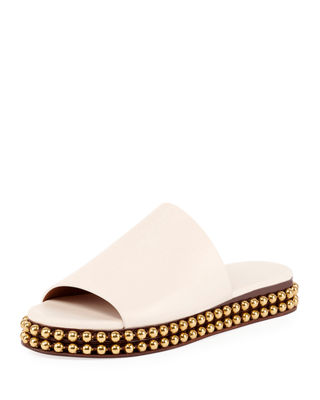 Sawyer 30Mm Flatform Sandal With Gold Studs On Bottom in White