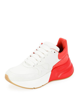 Runner Raised-Sole Low-Top Leather Trainers in White