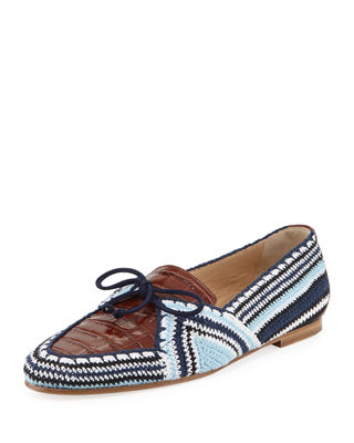 Hays Crocodile-Effect Leather And Crochet Loafers in Blue And Brown
