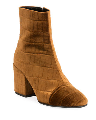 Cap-Toe Stamped Velvet Ankle Boots, Tan