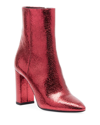 Lou Crackled Metallic Leather Mid-Heel Bootie
