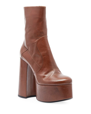 Billy Kangaroo Leather Platform Boot, Dark Brown
