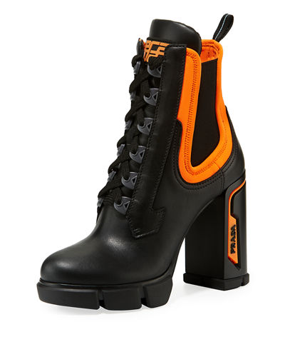 get leather neoprene lace up bootie quick look. prada a868a b11f9 1edfc44838ec4