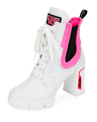 Logo-Embossed Rubber And Neoprene-Trimmed Leather Ankle Boots in White