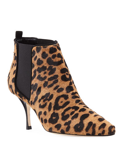 Dildi 70mm Leopard-Print Fur Booties