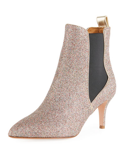 Parker Glitter Metallic Leather Point-Toe Chelsea Bootie