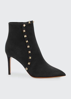 Rockstud 85Mm Suede Pointed-Toe Bootie in Black
