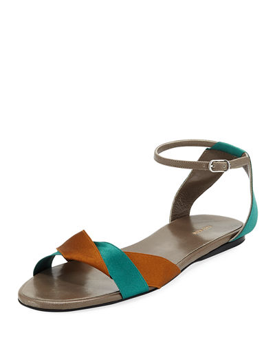 Colorblock Ribbons Flat Sandal