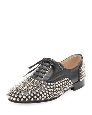 Freddy Spikes Red Sole Saddle Oxford Shoes, Black