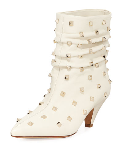 Slouchy Leather Scrunch Stud Bootie