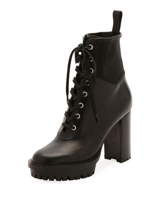 Leather Stretch Platform Combat Booties in Black