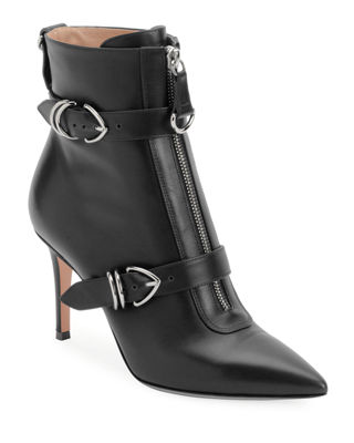 NAPA BUCKLED ZIP-FRONT ANKLE BOOTIE