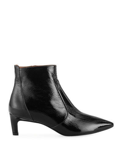 Marilisa Water-Resistant Shiny Leather Booties