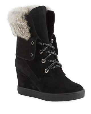 Cordelia Fur-Trim & Shearling-Lined Suede Platform Wedge Boots, Black