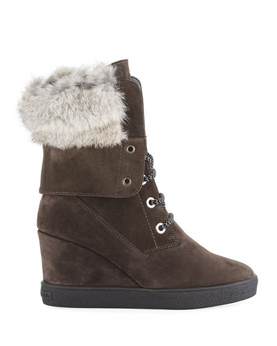 74c8e54c51a Aquatalia Cordelia High Wedge Boots w  Fur Trim