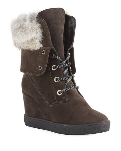 Cordelia High Wedge Boots w/ Fur Trim