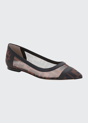 Colibri Leather-Trimmed Logo-Print Mesh Point-Toe Flats in Brown from Neiman Marcus