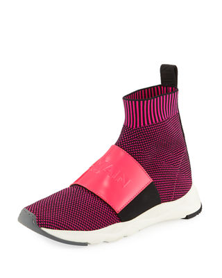 Neon Fuchsia Knit Ribbon Fabric And Leather Cameron Running Women'S Sneakers, Pink
