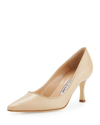 MANOLO BLAHNIK TUCCIO LEATHER MID-HEEL PUMP