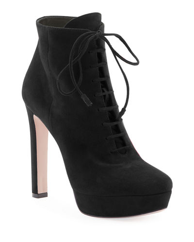 Suede Lace-Up Platform Bootie