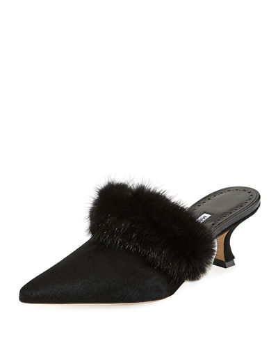 Mariafina Leopard-Print Mules with Fur Trim