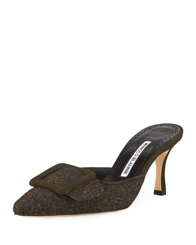 Maysale Tweed Mules with Buckle