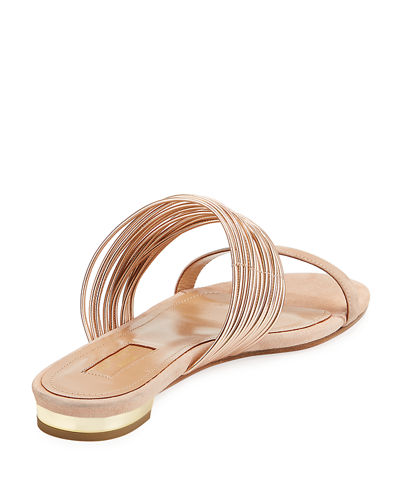 Metallic Two-Tone Flat Slide Sandals
