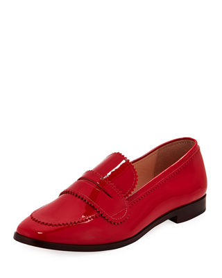 LOEFFLER RANDALL Beatrix Pinked Patent Loafers in Red