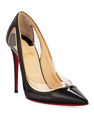 596f3c5780e Christian Louboutin Cosmo 554 Patent Vinyl High-Heel Red Sole