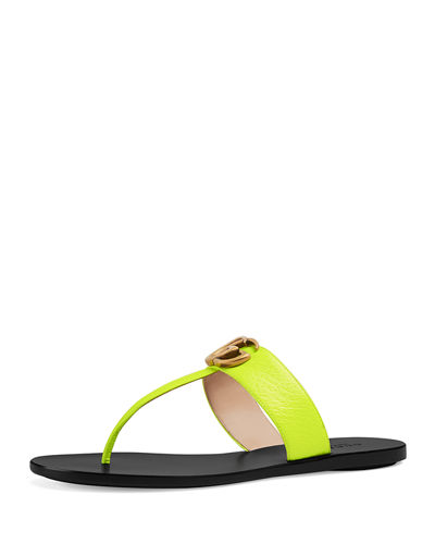 ca3024587 Flat Neon Leather Thong Sandals Quick Look. Gucci