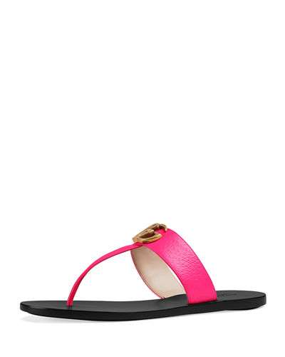6cb65141edcf Flat Neon Leather Thong Sandals Quick Look. Gucci