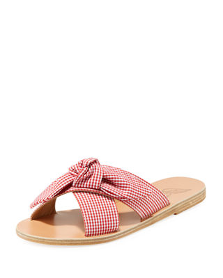 GINGHAM FABRIC KNOTTED SANDAL