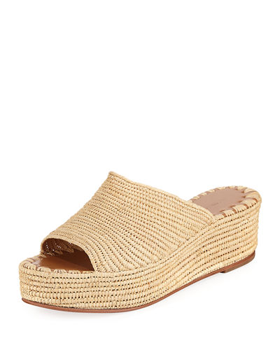 9b7b5a1157d Carrie Forbes Karim Woven Raffia Wedge Slide Sandals