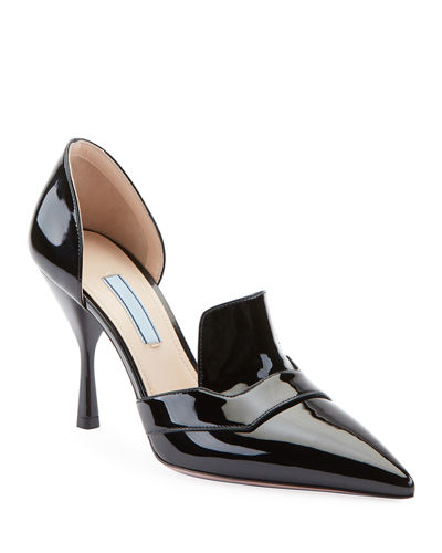 f5c84413ec8 Two-Piece Patent Leather Point-Toe Loafer Pumps Quick Look. Prada