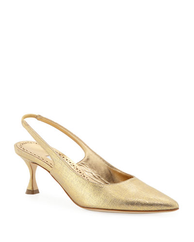 Betty Low-Heel Metallic Fabric Slingback Pumps