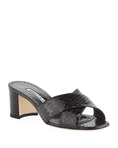 Otawi Crisscross Snakeskin Slide Sandals