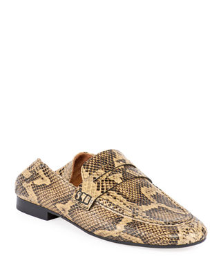 Fezzy Snake-Print Fold-Down Loafers, Natural