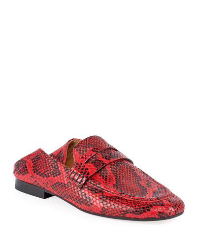 Fezzy Snake-Print Fold-Down Loafers