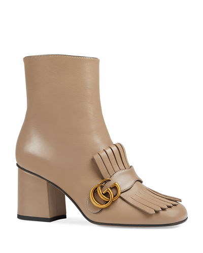 GG Marmont Kiltie Fringe Leather Booties