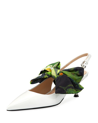Patent Slingback Pumps with Tie