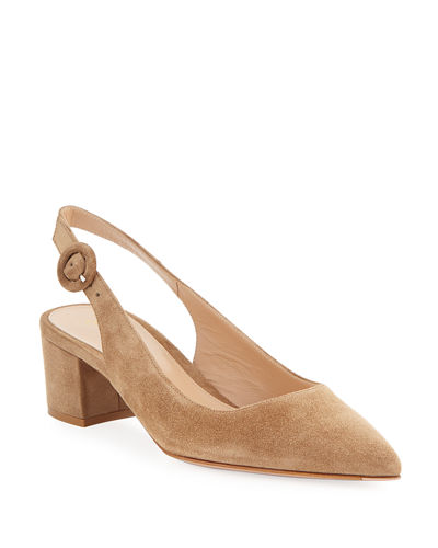 Low-Heel Suede Slingback Pumps