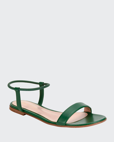 Flat Leather Ankle-Wrap Sandals