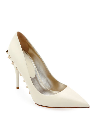 Jaw-Studs Point-Toe Leather Pumps
