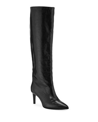Beha Calf Leather Knee Boots, Black