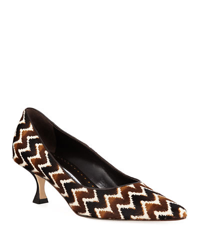 Srila Leopard-Print Fur Low-Heel Pumps