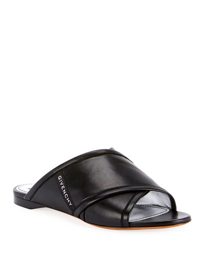 Crisscross Leather Flat Sandals