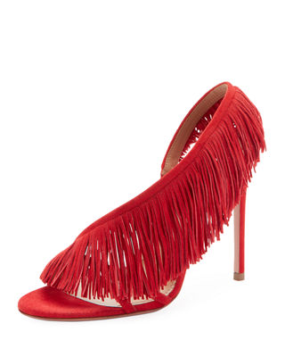 Wild Fringe Asymmetric Sandals in Red
