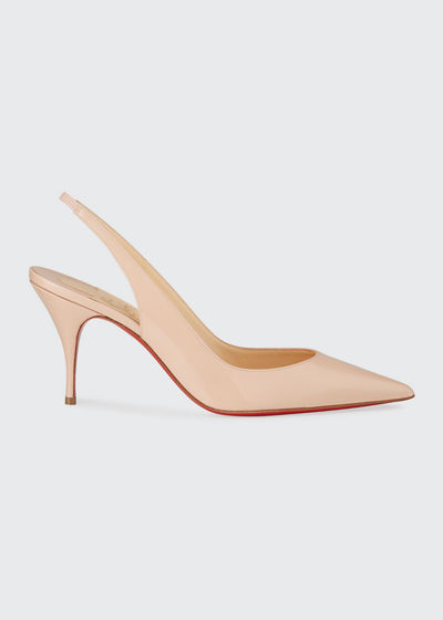 e743902192e6 Christian Louboutin Leather Designer Pump. Clare Sling 80mm Leather Red  Sole Pumps