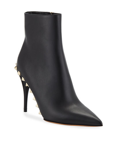 Rockstud Leather Ankle Booties